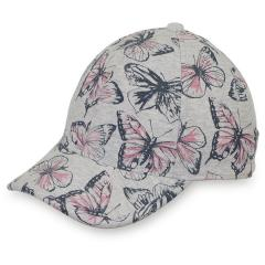 Mädchen Baseball Cap, Schirmmütze, LSF 50+, grau Schmetterlinge - 1421903