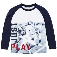 Jungen Shirt mit langen Ärmeln Footballmotiv, dunkelblau - 4.042db