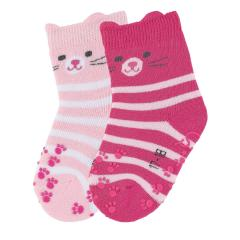 "Baby Mädchen Krabbel-Söckchen gefüttert 2er Pack Anti-Rutsch-Socken Strümpfe mit rutschfester ABS-Sohle ""Katze"", rosa pink - 8111921"