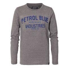 Jungen Langarmshirt Sweatshirt T-Shirt Petrol Ind. mit dunkler Aufschrift, hellgrau mel. - B-3090-TLR640