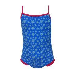 Badeanzug Mädchen Sternen-Musterung, blau