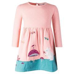 """Mädchen Kleid Winterkleid langarm gepunktet """"Tierwiese"""", rosa - 913507"""