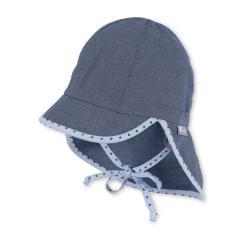 """Jungen Kinder Baby Schirmmütze zum Binden LSF UV-Schutz 50+ Sommermütze Schildmütze mit Nackenschutz """"Jeansoptik/Sterne"""", mittelblau – 1612030"""