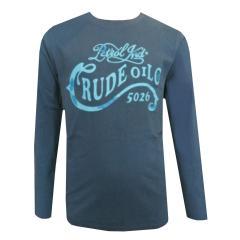 "Jungen T-Shirt Langarmshirt Petrol-Druck ""Crude Oil"", blau - B-FW18-TLR601"