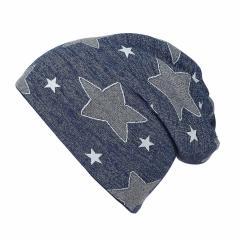 Jungen Mütze Beanie gemustert Sterne, blau - 4521804