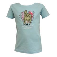 Mädchen T-Shirt kurzarm mit Pferde Motiv, hellblau