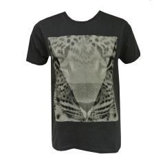 T-Shirt kurzarm Jungen Leopard, blau-grau
