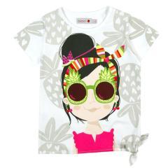 Boboli Mädchen T-Shirt kurzarm mit Motiv Ananas, weiß - 447050