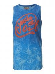 Jungen T-Shirt Shirt ohne Arme mit cooler Schrift, blau - B-HS17-SL743