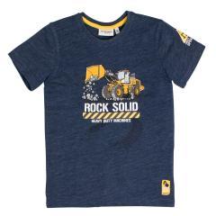 Salt&Pepper Jungen T-shirt kurzarm mit Bagger-Motiv, dunkelblau – 93112165