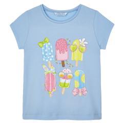 """Mädchen T-Shirt Sommershirt glitzernd """"Eis am Stiel"""", hellblau - 3020."""