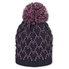 Mädchen Strickmütze Wintermütze mit Glanzfäden, Microfleece und Bommel, marineblau helllila - 4721918