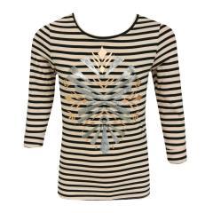 Mädchen T-Shirt langarm gestreift mit metallic Druck und Glitzer Palietten, altrosa schwarz