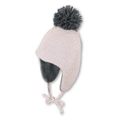 Mädchen Baby Mütze gefüttert Inkamütze mit Bommel Wintermütze zum Binden gepunktet, rosa - 4411927