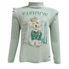 T-Shirt langarm mit Kragen für Mädchen, grün
