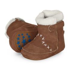 Baby-Schuhe Winterschuhe Mädchen Jungen Stiefel rutschfeste Sohle gefüttert mit Reißverschluss und Klettverschluss Lederoptik, haselnussbraun - 5301503