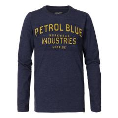Jungen Langarmshirt Sweatshirt T-Shirt Petrol Ind. mit gelber Aufschrift, dunkelblau mel. - B-3090-TLR640