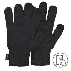 Kinder Strick-Fingerhandschuhe Touchscreen-Handschuhe einfarbig, dunkelgrau - 4361810