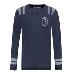 Jungen Shirt mit langen Armen, dunkelblau - T83612 292