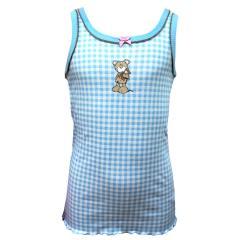 Mädchen Unterhemd, blau-weiß
