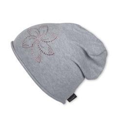 Slouch-Beanie Mütze Mädchen Strickmütze mit Glitzersteinchen, grau - 1721812