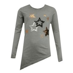 Mädchen Langarmshirt Sterne Pailletten, grau - 5968