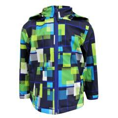 Outburst Jungen Softshelljacke Regenjacke Winddicht und Wasserdicht 10.000mm gemustert, blau/grün - 8472905