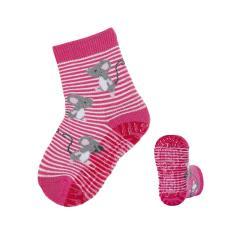 Mädchen Anti-Rutsch-Socken Fliesen Flitzer Air pink-weiß mit Mausmotiven, 8031916