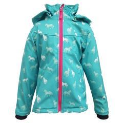 Outburst Mädchen Softshelljacke Regenjacke mit Kapuze Pferde-Motiv 10.000 mm Wassersäule, grün - 8470509