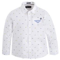 Jungen Hemd mit langen Ärmeln Langarmhemd, weis - 4145