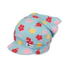 Mädchen Kopftuch mit Schirm, hellblau, Blumen - 1451920