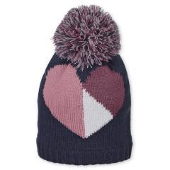 Mädchen Strickmütze Wintermütze mit Microfleece und Bommel, marineblau rosa - 4701926