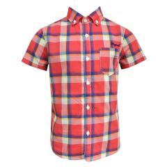 Jungenhemd Hemd kurzarm kariert, rot - 3153