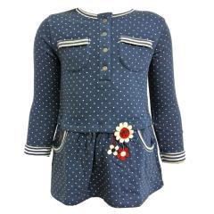 Mädchen Kleid langarm gepunktet, blau - 224053