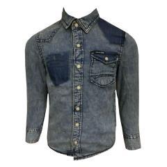 langarm Jungen Jeans T-Shirt, jeansblau