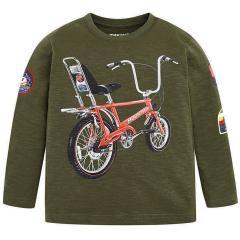 Jungen Langarmshirt mit Fahrrad Motiv, grün - 4.034