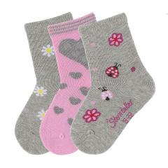"""3-er Set Mädchen Socken """"Marienkäfer"""", silber mel. - 8321824"""