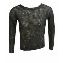 Strickpullover Sweater Mädchen mit Glitzersteinchen, schwarz