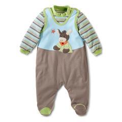 """Baby Jungen Jersey Strampler mit Pulli von Sterntaler """"Emmi"""", hellblau braun grün - 73200"""