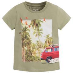 Jungen T-Shirt kurzarm Palmen, grün -  3083