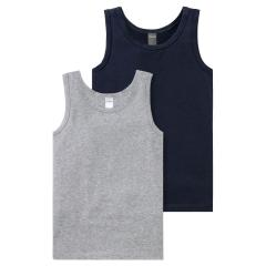Schiesser Jungen Unterhemd Doppelpack Tank Tops Baumwolle, dunkelblau/grau mel. – 171528-901
