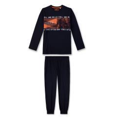 Jungen langer Schlafanzug Zweiteilig, orange-dunkelblau - 244374