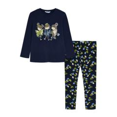 """Mayoral Mädchen Set 2 teilig Sweatshirt mit Leggins mit Rundkragen """"Schmetterlinge"""", dunkelblau - 4752"""