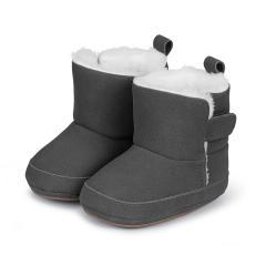 Baby-Schuhe Winterschuhe Jungen Stiefel rutschfeste Sohle gefüttert mit Klettverschluss einfarbig, eisengrau - 5301711
