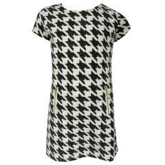 Mädchen Kleid mit Taschen. gefüttertt, Hahnentritt Muster, weiß-schwarz, Größe 146 146 | weiß-schwarz |