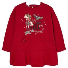 Mädchen Kleid mit langen Armen  Winterkleid mit Mädchenmotiv, rot - 4.977r