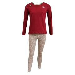 Mädchen Zweiteiliger Schlafanzug Lang Mund, rot- 244035