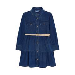 Mayoral Mädchen Kleid Jeanskleid langarm kurz mit Gürtel zum Knöbfen,  jeansblau - 4933