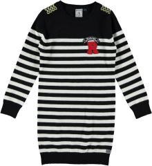 Mädchen Winterkleid Strickkleid gestreift, schwarz-natur - RJG-73-807