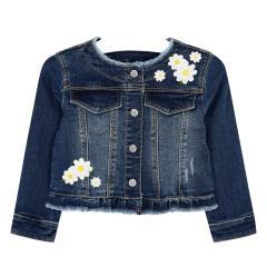 Mädchen Jeansjacke Rüschen bestickt mit Blume, jeanslau - 3.467blume